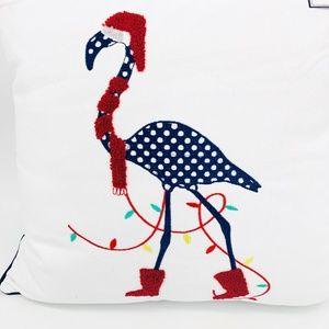 NWT Festive Flamingo Christmas White Cotton Pillow